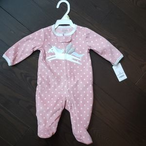 Carters NWT fleece unicorn footed onesie